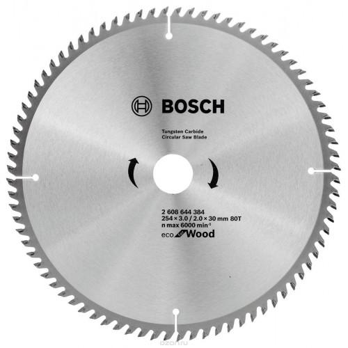 Диск пильный Bosch ЕСО for Wood 254х30 мм Z80, дерево