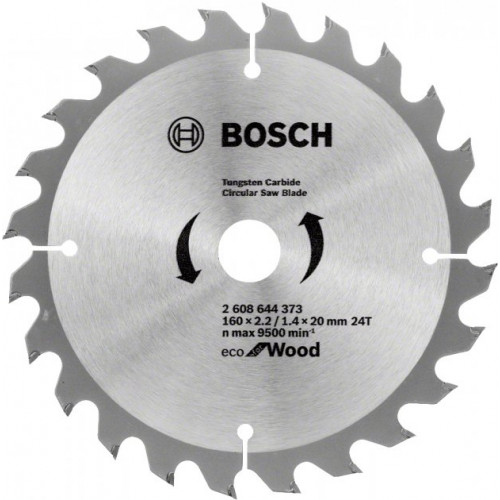 Диск пильный Bosch ЕСО for Wood 160х20/16мм Z24, дерево (2608644373)
