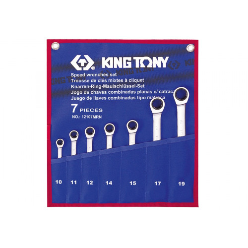 Набор накидных ключей King Tony 10-19 мм с трещоткой, 7 шт в чехле