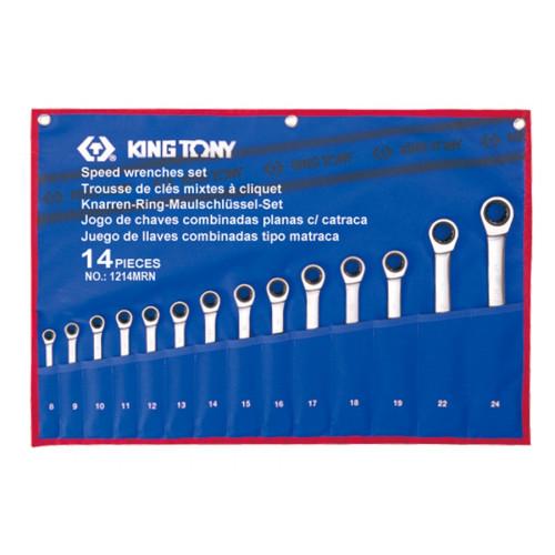 Набор накидных ключей King Tony 8-24 мм с трещоткой,14 шт в чехле