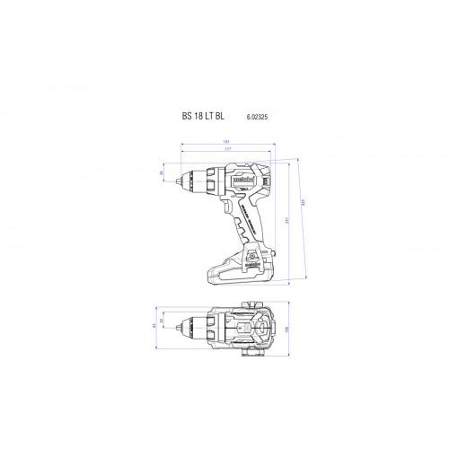 Аккумуляторный шуруповерт Metabo BS 18 LT BL бесщёточный Каркас (602325840)