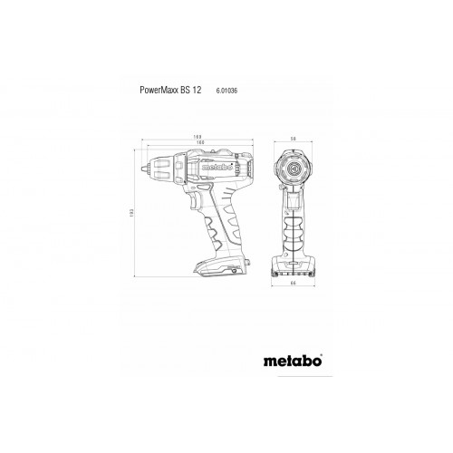 Аккумуляторный шуруповерт Metabo PowerMaxx BS 12 Каркас (601036890)