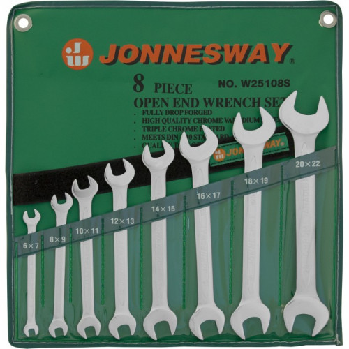 Набор рожковых ключей Jonnesway 6-22 мм, 8 шт в чехле