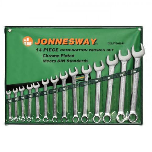 Набор комбинированных ключей Jonnesway 10-32 мм, 14 шт в чехле