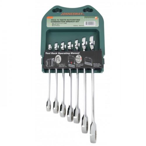 Набор трещоточных ключей Jonnesway 10-19 мм, 7 шт в футляре