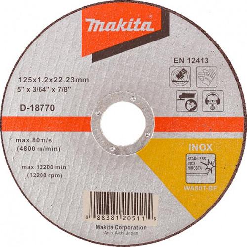 Круг отрезной Makita 125*1.28*22 нержавеющая сталь (D-18770)