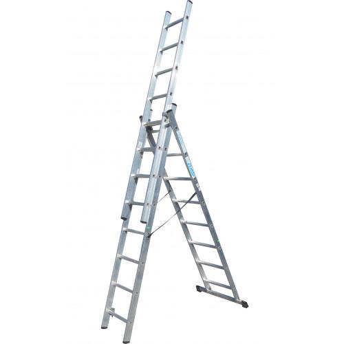 Лестница ELKOP VHR Trend 3x8 алюминиевая, 3 секции, 8 ступеней