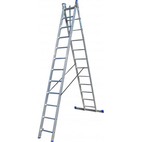 Лестница ELKOP VHR Trend 2x12 алюминиевая, 2 секции, 12 ступеней