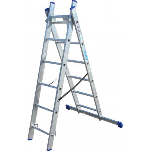 Лестница ELKOP VHR Hobby 2x6 алюминиевая, 2 секции, 6 ступеней