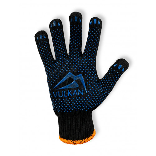 Перчатки рабочие Vulkan 8511, чёрные, ПВХ точки