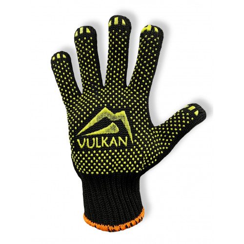 Перчатки рабочие Vulkan 5611, чёрные, ПВХ точки