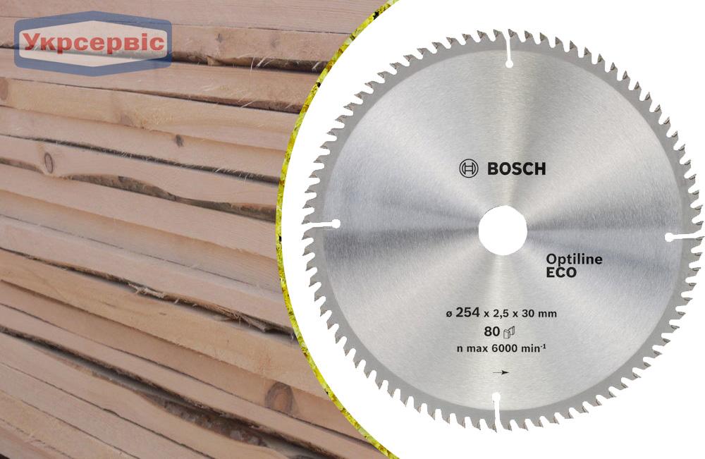 Купить недорогой пильный диск Bosch ЕСО for Wood 254х30мм Z80