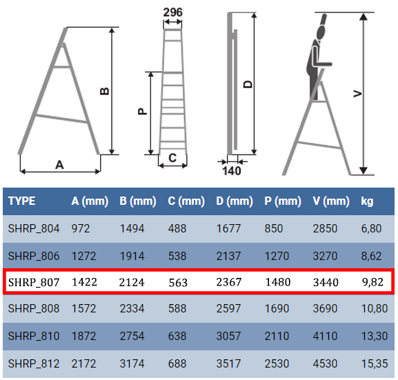 Технические характеристики стремянки для дома Elkop SHRP 807